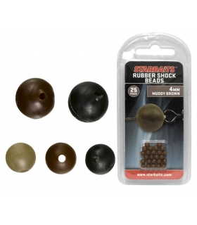 STARBAITS RUBBER SHOCK BEADS 6MM MUDDY BROWN