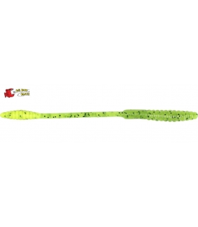 "BIG BITE BAITS SQUIRREL TAIL WORM 4"" CHARTREUSE PEPPER"