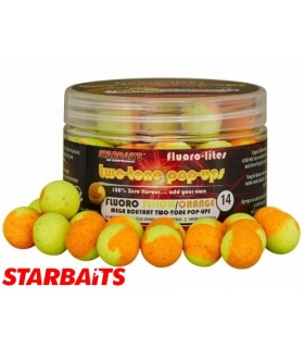 STARBAITS FLUORO-LITE TWO-TONE POP-UP YELLO/ORANGE 14MM