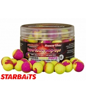 STARBAITS FLUORO-LITE TWO-TONE POP-UP YELLOW/PURPLE 14MM