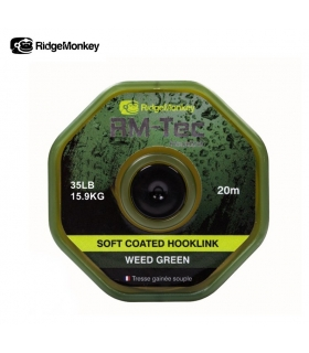 RIDGEMONKEY RM-TEC SOFT COATED HOOKLINK WEED GREEN 35LB 15.9KG