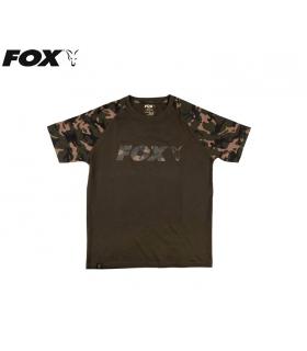 FOX T-SHIRT RAGLAN KHAKI/CAMO SLEEVES TALLA M