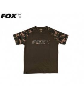 FOX T-SHIRT RAGLAN KHAKI/CAMO SLEEVES TALLA XXL